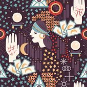 image of fortune-teller  - Fortune teller themed seamless pattern with gypsy fortune teller woman - JPG