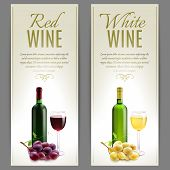 stock photo of wine grapes  - Red and white wine paper banner vertical set with glass bottles and grapes isolated vector illustration - JPG