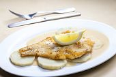 picture of halibut  - fried halibut with sweet potatoes and lemon sauce - JPG