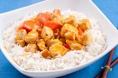 foto of paneer  - indian butter chicken with carrots over white rice - JPG