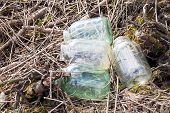 picture of dump  - Garbage dump glass jars near the forest - JPG