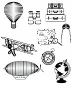foto of treasure map  - Vintage travel components presenting air plane - JPG