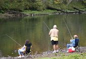 Three Seniors Fishing
