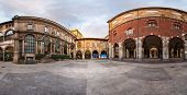 stock photo of piazza  - Panorama of Palazzo della Ragione and Piazza dei Mercanti in the Morning Milan Italy - JPG