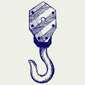 stock photo of crane hook  - Hook of a crane - JPG