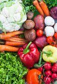 stock photo of farmers market vegetables  - fresh organic seasons ripe vegetables farmer market - JPG
