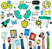 image of reuse  - Recycle Reduce Reuse Eco Friendly Natural Saving Go Green Concept - JPG