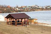 stock photo of gazebo  - Gazebo on the river bank for picnic - JPG