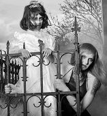 pic of zombie  - Zombie zombie woman and child in the old cemetery in the fog - JPG