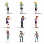 pic of flat stomach  - Medicine disease woman flat characters set with allergy vertigo fracture illness isolated vector illustration - JPG