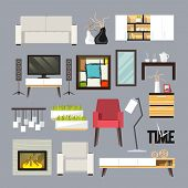 pic of tv sets  - Living room furniture decorative icons set with sofa bookshelf tv table isolated vector illustration - JPG
