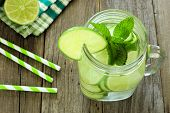 picture of mason  - Detox water with lime and cucumbers in a mason jar - JPG