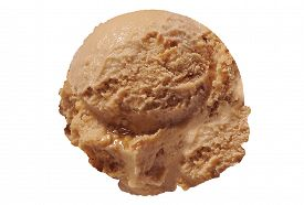 pic of ijs  - Scoop of caramel ice cream on white background - JPG
