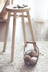 picture of stool  - Vintage knitting needles - JPG