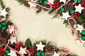 picture of candy cane border  - Christmas background border of gingerbread biscuits - JPG