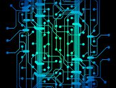 Abstract illustration of blue and green colored circuit board