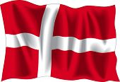 Flagge Dänemarks, isolated on White winken