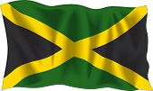 Waving flag of Jamaica isolated on white