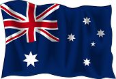 Waving Flag of Australia, isolated on white