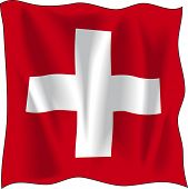 Waving Flag der Schweiz, isolated on white