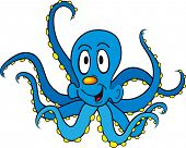 Funny cartoon octopus isolated on white background