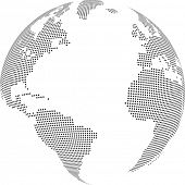 Vector illustration of world globe with square dots