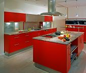 modern kitchen with red cupboard