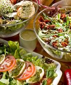 Three kinds of vegetable salads