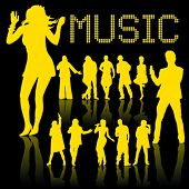 silhouette of dancing and singing people isolated on black background