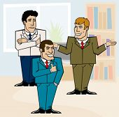 three businessmen in the office discussing a problem