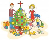 happy family mother, father, boy, girl, baby boy and dog dressing up the christmas tree isolated on white background