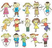 picture of indian apple  - vector children sketch with many kids doing something - JPG