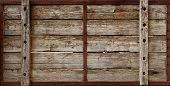 stock photo of wooden crate  - Large wooden crate boards grungy texture background - JPG