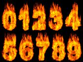 3D Illustration of burning digits isolated on black background.