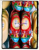 floral cross process photographic reproduction of amsterdam clogs