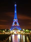PARIS - SEPTEMBER 3: The Eiffel Tower is shown in blue illumination in celebration of France's rotat