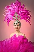 Beautiful Girl In Carnival Costume With Pink Feathers. poster