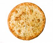 Four cheese pizza isolated on white background