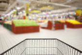 stock photo of pov  - Supermarket cart POV and the blurred background - JPG