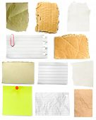Many slices of paper isolated on white background
