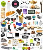 The big collection of different objects on white background