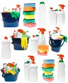 Collection of ceaning products on white background
