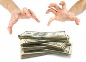 Human hand take over money on white white background