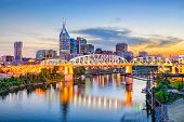 Nashville, Tennessee, USA downtown skyline on the Cumberland River. poster
