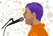 vector image of singer's profile