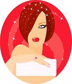 Vector de la imagen de una mujer encantadora con tarjeta en blanco para su información