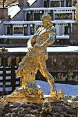 stock photo of samson  - Fountain Samson in a winter period - JPG