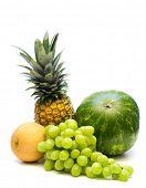 fresh fruits on white background