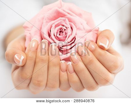 poster of  Woman gets manicure procedure in a spa salon. Beautiful female hands. Hand care. Woman cares for th