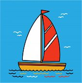 Sailing Yacht Flat Cartoon Square Icon, Drawing. Boat With Sail And Flag, Sailing On The Sea poster